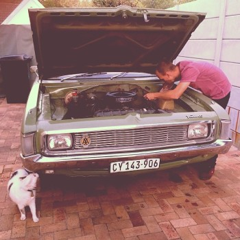What Makes My Husband The Best Dad Dad working on his Valiant Regal Vintage Car with The cat