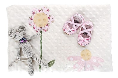 Baby Life Online Shop - My Wishlist... Pink Birdie Ballet Pumps, Grey Knitted Mouse and Flowers Blanket