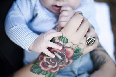 Being A Mom With Tattoos - It Does Not Make Me A Bad Parent Hand Tattoo Rose  Baby
