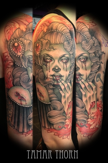 {Interview} Tattoo Artist Tamar Thorn Talks To Us About Her Past Life, Tattoos And A Beautiful Future. No Egos, No Bullshit, Just Passion. Pretty Zombie Lady Tattoo Sleeve
