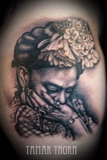 {Interview} Tattoo Artist Tamar Thorn Talks To Us About Her Past Life, Tattoos And A Beautiful Future. No Egos, No Bullshit, Just Passion. Frida Kahlo Portrait Tattoo