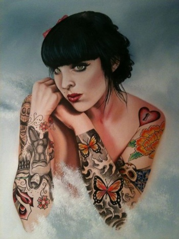 {Interview} Tattoo Artist Tamar Thorn Talks To Us About Her Past Life, Tattoos And A Beautiful Future. No Egos, No Bullshit, Just Passion. Oil Painting Tattooed Lady