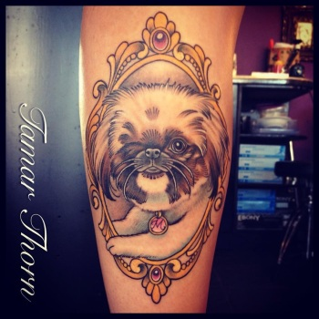 {Interview} Tattoo Artist Tamar Thorn Talks To Us About Her Past Life, Tattoos And A Beautiful Future. No Egos, No Bullshit, Just Passion. Pekingese  Dog Tattoo Portrait Frame