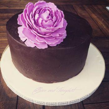 Caffeine and Fairydust Chocolate Ganache Cake with Pink Peony Bosworth Bakery