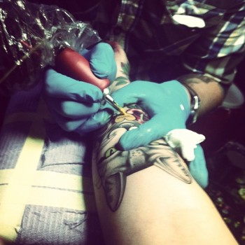 Shaun Dean Emerald Fox Tattoo Caffeine and Fairydust Busy tattooing