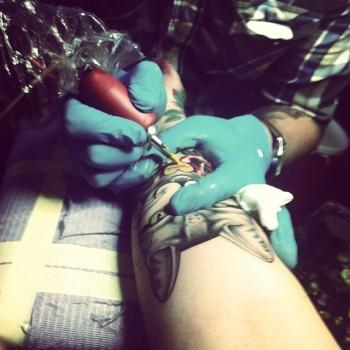 Shaun Dean Emerald Fox Tattoo Caffeine and Fairydust Busy tattooing