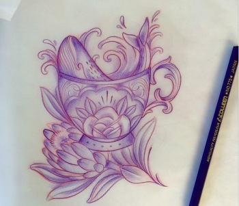 Shaun Dean Interview Emerald Fox Tattoo Studio Caffeine and Fairydust Teacup and whale drawing