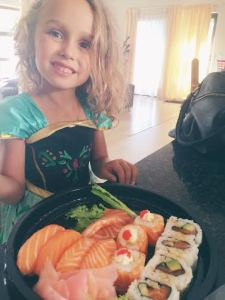 The Day I Kicked Parenting's Ass - Caffeine and Fairydust Kid Eating Sushi