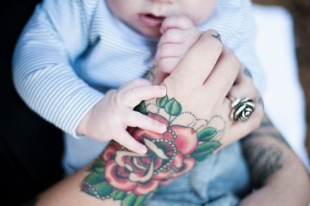 Caffeine and Fairydust - Our Family Photoshoot With Lauren Pretorius Photography - Hand Tattoo Holding Baby - Mom With Tattoos