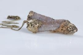 Gold plated Spirit Quartz pendant (5019)
